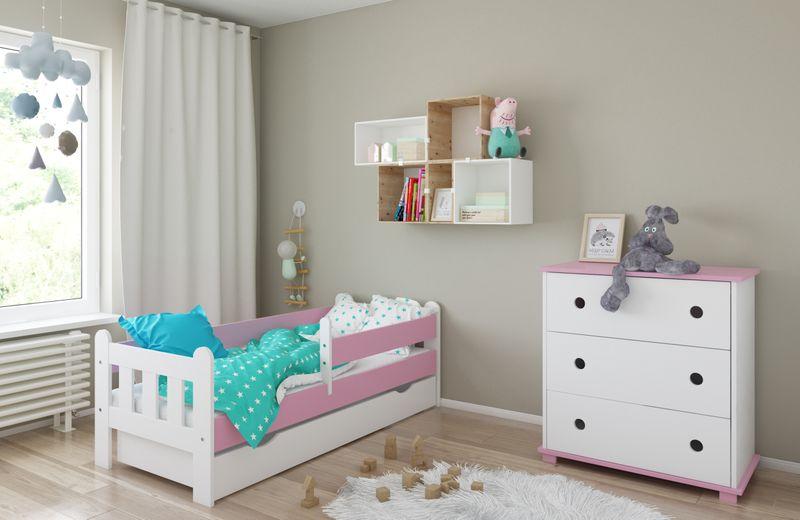 Łóżko STAŚ 140 x 70 z szufladą + barierka ochronna + MATERAC GRATIS zdjęcie 15