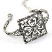 Wiktoriańska bransoleta srebrna z cyrkoniami