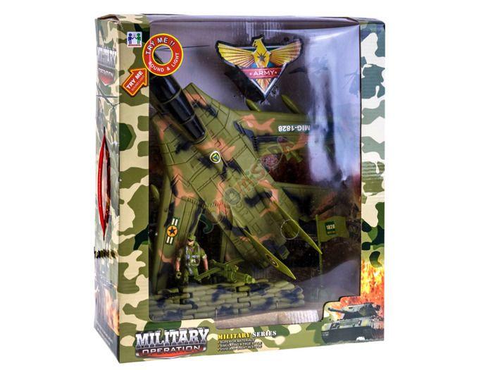 Samolot Wojskowy Myśliwiec + Figurka Flaga Efekty zdjęcie 3