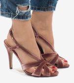 Różowe zamszowe sandały szpilki 9095-138 37