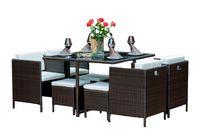 Meble ogrodowe brązowy zestaw stołowy z technorattanu