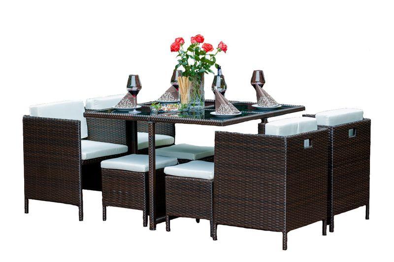 Meble ogrodowe brązowy zestaw stołowy z technorattanu na Arena.pl