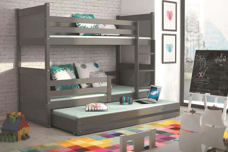 Łóżko meble dla dzieci drewniane Mateusz 190x80 piętrowe 3osobowe zdjęcie 9