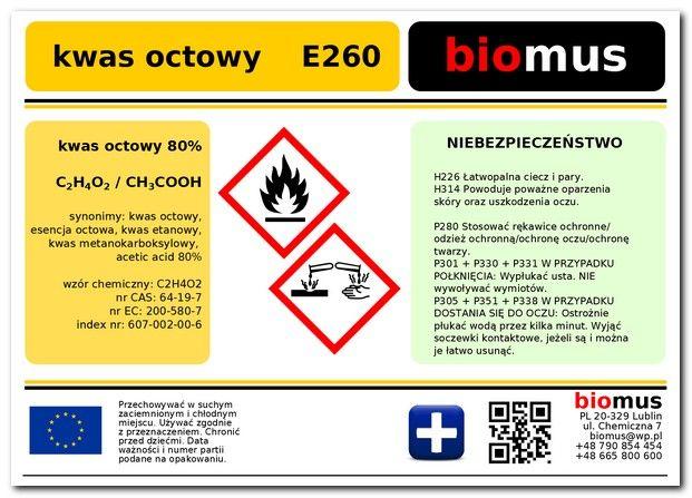 Esencja octowa czysta E260 - Ocet r-r 80% 1L zdjęcie 2