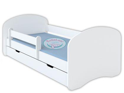 Łóżko dziecięce HAPPY 140x70 z szufladą i materacem – białe