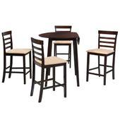 Stół barowy i 4 krzesła, lite drewno, ciemnobrązowe