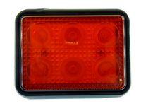 mocna Lampa 6 LED 10x8 cm czerwona stop + pozycja 12v 24v
