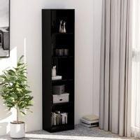5-poziomowy regał na książki, wysoki połysk, czerń, 40x24x175cm