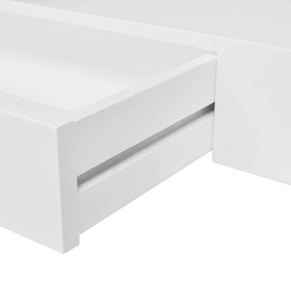 Półki Wiszące Z Szufladami 2 Szt Białe 80 Cm