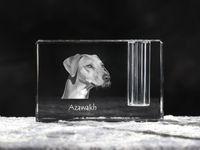 Azawakh - kryształowy stojak na długopis z wizerunkiem psa, pamiątka, dekoracja, kolekcja.