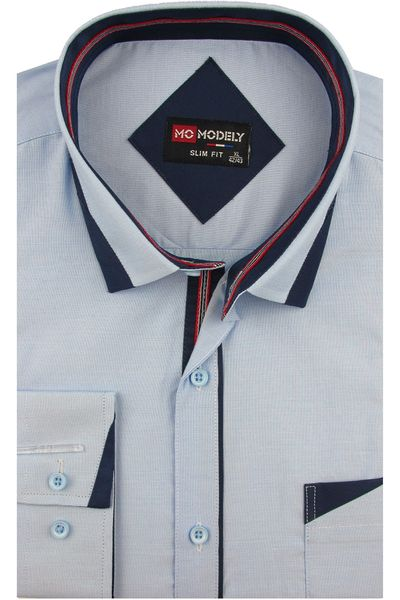 Koszula Męska Modely gładka błękitna melanż SLIM FIT na  bfmEX