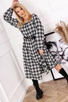 Sukienka szmizjerka w kratę z bufiastymi rękawami i paskiem - Multikolor U