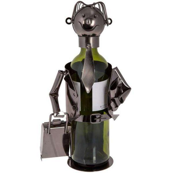 METALOWY stojak na wino BIZNESMEN retro PREZENT zdjęcie 1