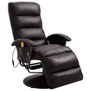 Telewizyjny Fotel Masujący, Regulowany, Brązowy, Ekoskóra