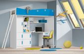 meble TRAFIKO antresola + biurko + łóżko piętrowe fala turkus