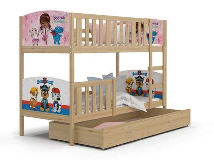 Łóżko piętrowe TAMI 190x80  szuflada + materace WZORY
