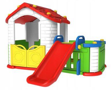Domek ogrodowy dla dzieci zjeżdżalnia ogródek 3w1