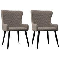 Krzesła do jadalni, 2 szt., kolor taupe, tapicerowane tkaniną