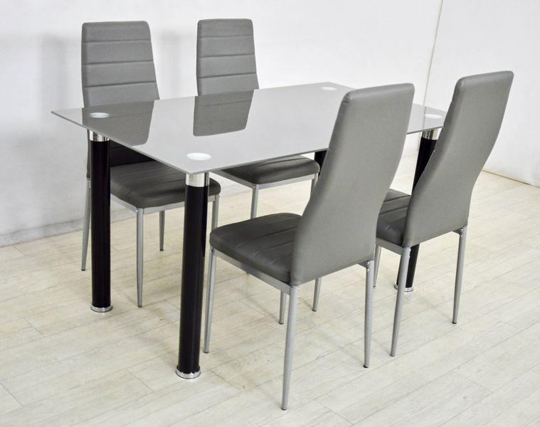 Nowoczesny Zestaw 4 Krzesła I Szklany Stół 80x140