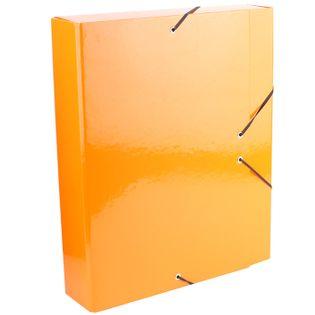 Teczka na gumkę A4 6cm tekturowa pomarańczowa