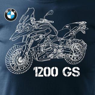 Koszulka motocyklowa z motocyklem na motor BMW GS 1200 męska granatowa SLIM M