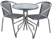 Meble Ogrodowe Balkonowe Na Taras 2 krzesła Szklany Stół Szare 6121