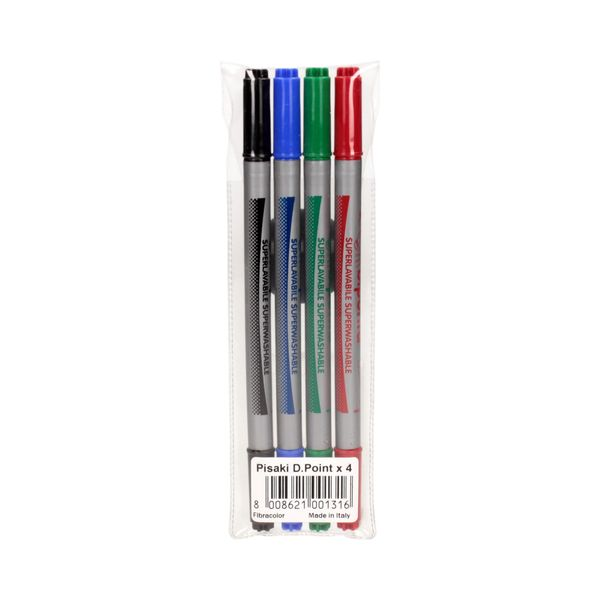 Flamastry pisaki mazaki 4 kolory dwustronne Fibracolor zdjęcie 1