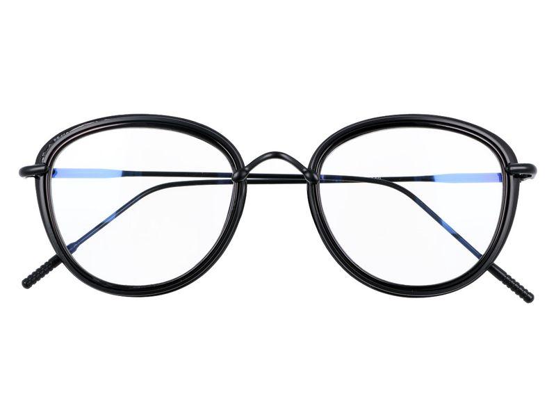 damskie okulary zerówki antyrefleks czarne zdjęcie 1