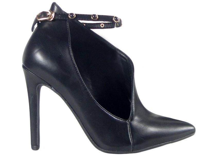 1264676ff73df Czarne botki damskie buty z wycięciem pasek Rozmiar Buta - 41 • Arena.pl
