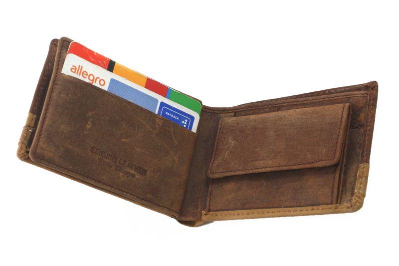 f0f2c67898d30 Bardzo mały poręczny portfel męski Always Wild ze skóry nubukowej - brąz  zdjęcie 6