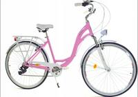 """Rower Dallas City Alu 28"""" 7spd - różowy z białym"""
