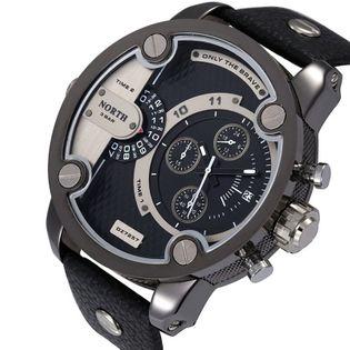 Zegarek męski North 3301, wodoszczelny, srebrny, czarny biały