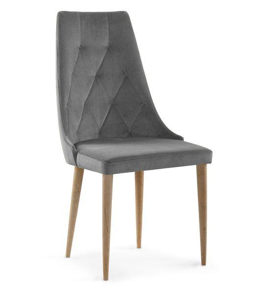 krzesło CAREN II VELVET szary/dąb zdjęcie 1