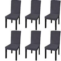 Elastyczne pokrowce na krzesła w prostym stylu, 6 szt., antracyt