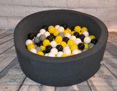 Suchy basen dla dzieci z piłeczkami 90x40 okrągły - grafitowy Color - Grey