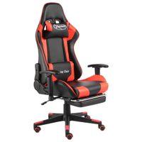 Lumarko Obrotowy fotel gamingowy z podnóżkiem, czerwony, PVC