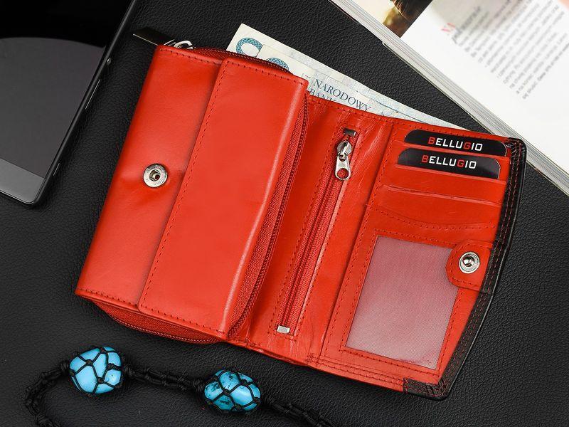 Bellugio elegancki damski portfel skórzany na zamek K82 zdjęcie 4