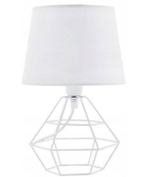 Lampa Biurkowa Nocna Druciana Biała Diamond 34 Cm Arenapl