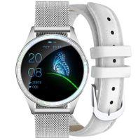 Zegarek GINO ROSSI  SMARTWATCH - srebrny + biały pasek