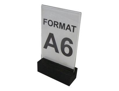 stojak na menu ulotkę z plexi z drewnianą podstawką A6