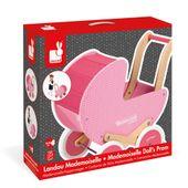 JANOD Drewniany Różowy wózek dla lalek chodzik