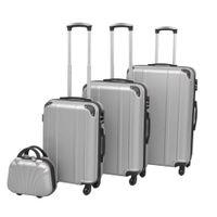 Zestaw walizek na kółkach w kolorze srebrnym 4 szt. VidaXL