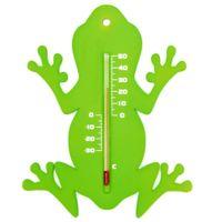 Zewnętrzny termometr ogrodowy, w kształcie żaby, zielony