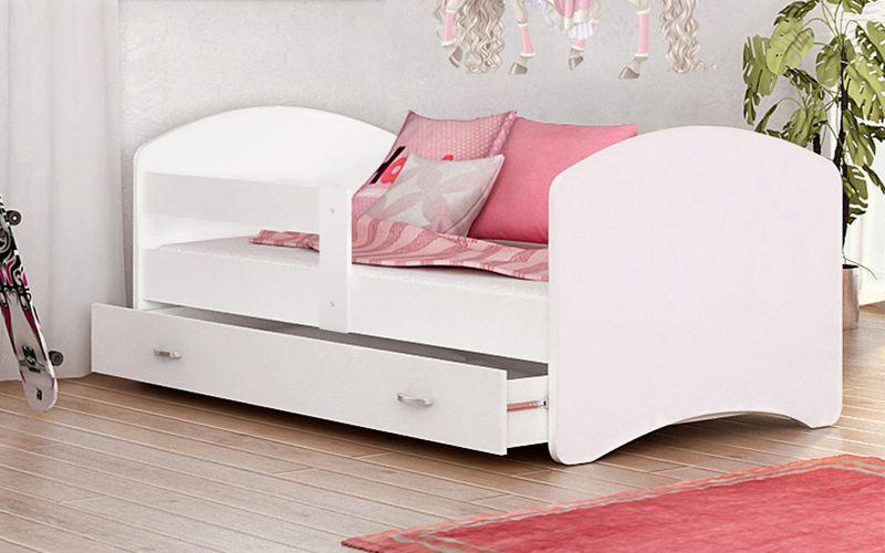 łóżko 160x80 Lucky Biel Szuflada Na Prowadnicy