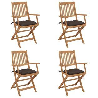 Lumarko Składane krzesła ogrodowe z poduszkami, 4 szt., drewno akacjowe