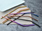 Słomki metalowe wielorazowe z kolorowymi ustnikami, zestaw 8 słomek zdjęcie 4
