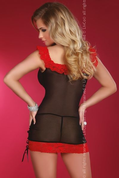 b191df5fe11139 Czarna czerwona prześwitująca na tiulu koszulka nocna bielizna damska  erotyczna S M zdjęcie 2