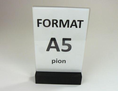 Stojak z plexi 2mm na ulotkę menu A5 drewniana podstawka na Arena.pl