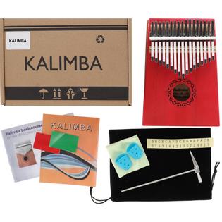 Drewniana Kalimba zazna pianino 17 klawiszy W-17T-7 czerwona