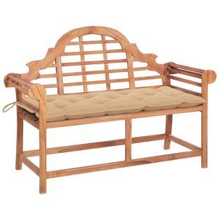 Lumarko Ławka ogrodowa z beżową poduszką, 120 cm, lite drewno tekowe!